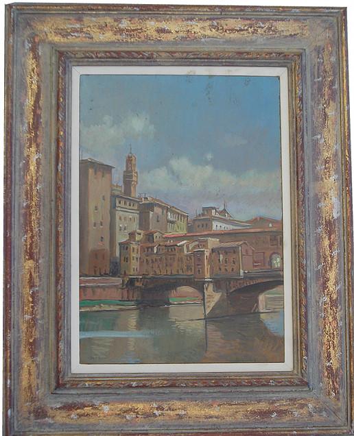 Ponte Vecchio 25x35 olio/tavola codice 0153