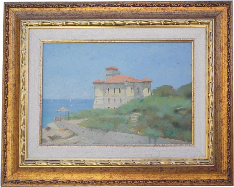 Castel Boccale Livorno 25x38 olio/tela codice 0160
