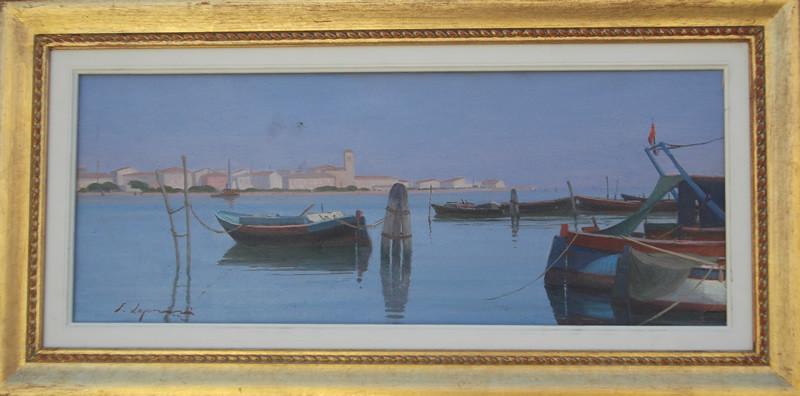 Mattino a Chioggia Venezia 20x50 olio/tavola codice 0161