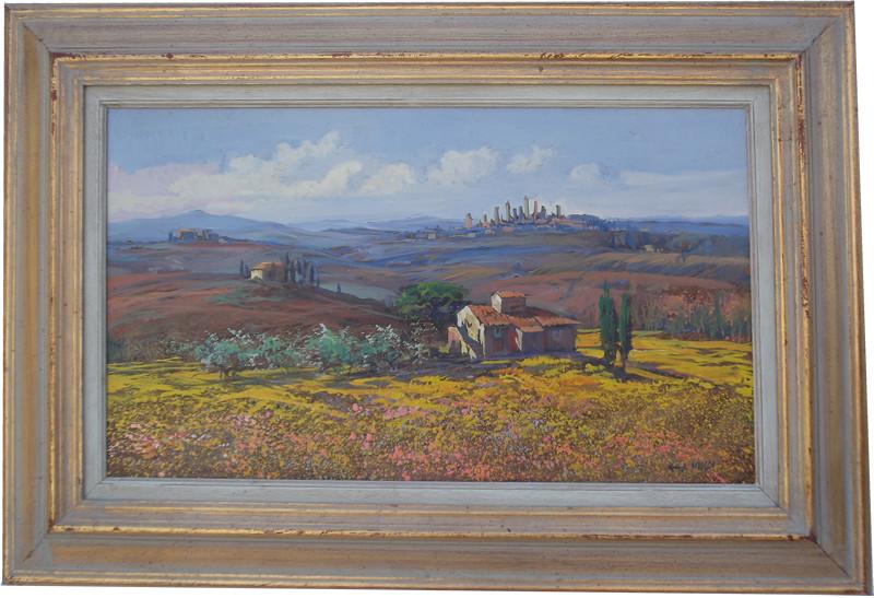 Magica primavera campagna Toscana 30x50 olio/tela codice 0164