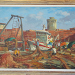 Pescatori darsena vecchia a Livorno 70x100 olio/tela codice 062
