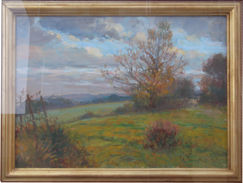 Paesaggio di castel Anselmo 30x40 olio/tavola codice 0128